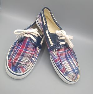 Dexter Plaid & Navy Red White Blue Boat Shoes 8.5